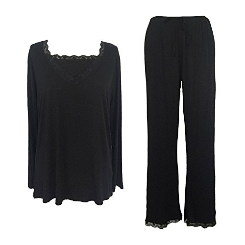 Sleepy Time Women's Bamboo Pajamas, Hot Flash Menopause Relief PJs, V Neck, L Black