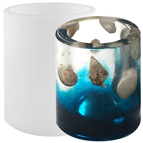 Shotglasses Epoxy Silicone Mold for Resin Casting Concrete Cement Plaster Chocolate Cookie Candy Ice DIY, Large Cylinder 4.4x3inch