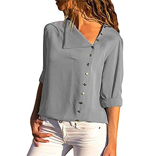 Camisa Mujer Gasa Manga Larga Camisa Holgada Y Transpirable con Botones Verano Elegante Y Cómoda Camisa De Oficina para Mujer Minimalista Color Puro Tops Camisa Casual Diaria D-Gray 3XL