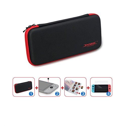Nintendo Switch アクセサリー パック 防塵プラグ & ガラス フィルム & カードスロット&収納カバン 任天堂 ニン テンドースイッチ フィルム 高品質 耐指紋 SDカード収納可能 USB コネクタなどに保護カバー