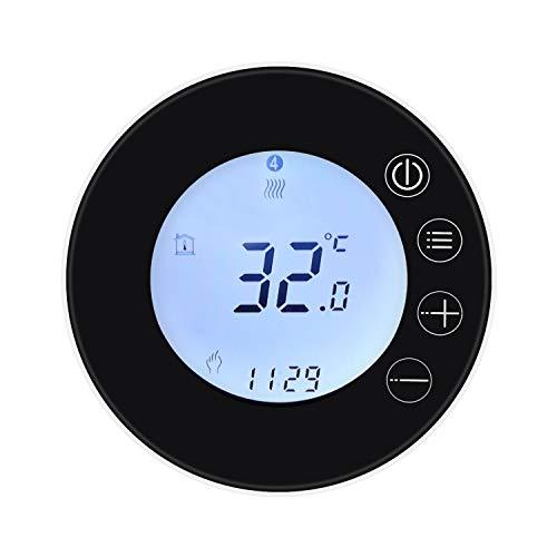 KKmoon Termostato WiFi Calefacción Eléctrica Termostato Inteligente Pantalla LCD WiFi Tuya Termostato WiFi Programable, Mando a distancia APP Compatible con Control Vocal Alexa Google Home