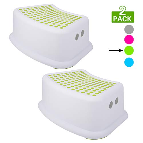 Step Stool for Kids (2 Pack), Toddlers Stool for Potty Training, Bathroom, Kitchen, Bedroom, Toy Room and Living Room. Toilet Stools with Soft Anti-Slip Grips for Safety, Stackable (Green)