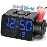 TAKRINK Despertador de Proyección Reloj Digital de Radio para Dormitorio Reloj LED Interruptor de 12/24 Horas Proyección de Rotación de 180 ° en la Pared