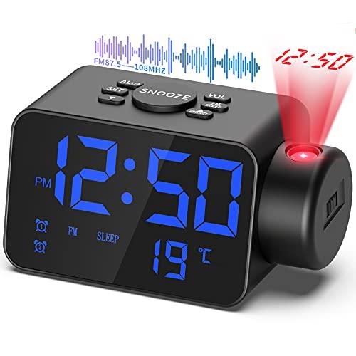 TAKRINK Radio Réveil Projection Plafond, Horloges Projecteur Plafond Numérique Fonction Radio FM Somme Affichage Température avec Port de Chargement USB 2 Réveils Réglage Luminance par Cadran Noir