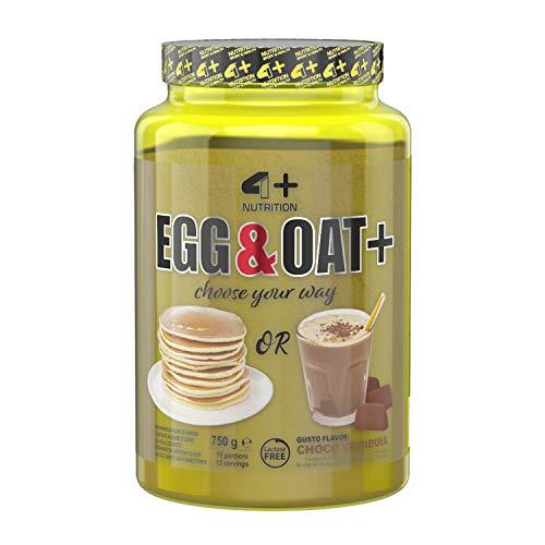 4+ NUTRITION - Egg & Oat+, Integratore Sportivo, Crescita della Massa Muscolare e Riduzione della Stanchezza e Affaticamento, in Polvere, Gusto Choco Gianduia, 750 g