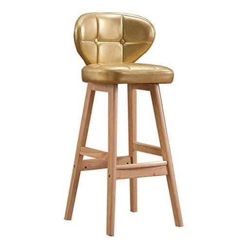 Nordic Bar Hocker Faux Leder Kissen Frühstücks-Stühle für Pub/Kitchen Gummi-Holzbarhocker Stuhl | Max Load 200kg,Beige,65cm