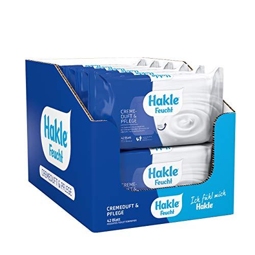 Hakle Feucht Cremeduft & Pflege im 12er-Pack (12 x 42 Blatt), pflegendes feuchtes Toilettenpapier, hautverträgliche feuchte Tücher, schnell wasserlösliche Feuchttücher