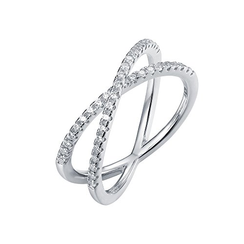 PAVOI 14K Gold Plated Simulated Diamond CZ Crisscross X Ring
