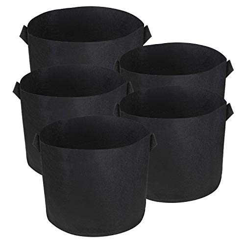 BELLE VOUS Bolsa de Cultivo (Paquete de 5) - 57 litros / 15 galones Maceta de Cultivo - Transpirables Macetas de Geotextil para Orgánico de Vegetales, Flores y Plantas - Geotextil Cultivo