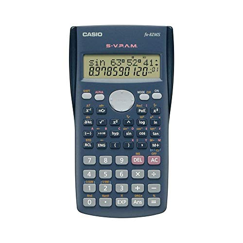 Casio FX-82MS Calcolatrice tascabile tecnico-scientifica, Grigio scuro
