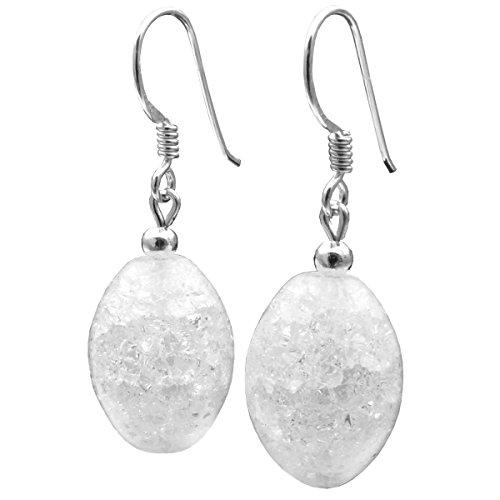 Ohrringe Ohrhänger Bergkristall & 925 Silber Olivenform Crack-Struktur Damen