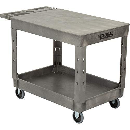 "Plastic 2 Flat Shelf Service & Utility Cart, 44"" x 25-1/2"", 5"