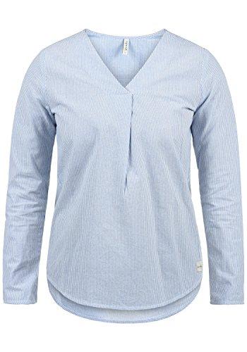 BlendShe Stacey Damen Lange Bluse Langarm Mit Streifen-Muster Und V-Ausschnitt Aus 100% Baumwolle Loose Fit, Größe:XL, Farbe:Light Blue Stripe (20248)