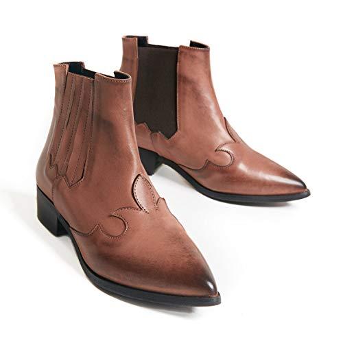 Marsida - Caroline - Leren laarzen voor dames met vierkante hak, kant design, elastieken aan de zijkant, gemaakt in Italië