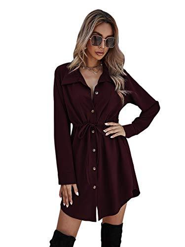 DIDK Elegancka damska sukienka koszuli, dekolt w serek, z długim rękawem, na jesień, tunika, ze ściągaczem, jednokolorowa, na czas wolny, guziki, sukienka koszulowa, krótka sukienka