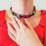 Halsband Halskette aus Wax Stoff Schmuck Kette, handgefertigt, bunt farbenfroh farbig afrikanisch...