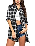 Hotouch Womens Boyfriend Fit Flannel Plaid Shirt Button Down Long Sleeve Tops Collar with Pocket Black and White XL