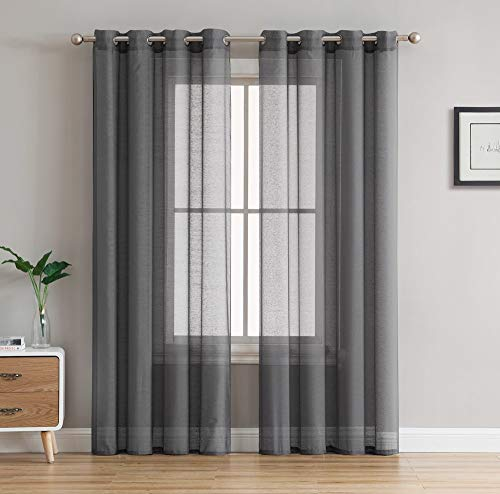 """HLC.ME 2 Piece Semi Sheer Voile Window Curtain Grommet Panels for Bedroom & Living Room (54"""" W x 84"""" L, Charcoal Grey)"""