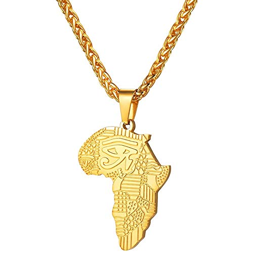 VACANALA The Eye of Horus Africa Map Pendant Necklace Gold Rose Black Plated Stainless Steel Wedjat Eye Ancient Egypt Jewelry Necklace