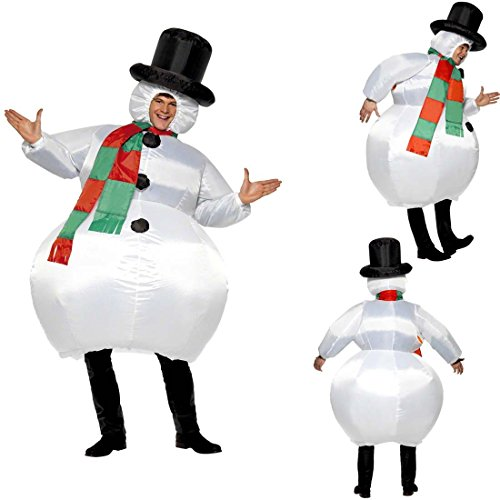 NET TOYS Traje Hinchable Atuendo muñeco de Nieve Inflable Bola de Nieve para hinchar Vestimenta Divertida de Carnaval Disfraz carnavalero Adulto Vestido Navidad Hombre