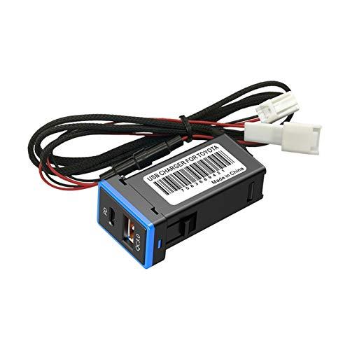 RJJX QC 3.0 Cargador DE Coche Dual Puerto con Tipo C USB Cargo RÁPIDO Ajuste para Toyota (Color Name : Black)