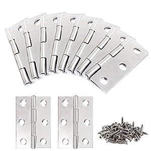 KINDPMA Bisagras plegables de acero inoxidable de 20 piezas Bisagra de puerta de hardware de muebles de 1.7 pulgadas con 120 piezas Tornillos de montaje para armario Armario Joyero (Plata)
