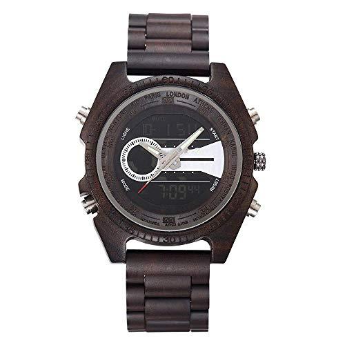 Thumby Praktische Horloges Dubbele Beweging Sandelhout Horloge Multi-Functie Dubbele Display Kalender Mannen Quartz Houten Tafelpak Tafel Decoratieve Horloge Armband Zwart