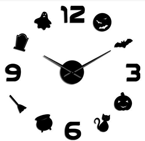 YAZCC Fledermaus Kürbis DIY Wanduhr Acrylspiegel Halloween Dress Up Home Decoration Clock (Schwarz)
