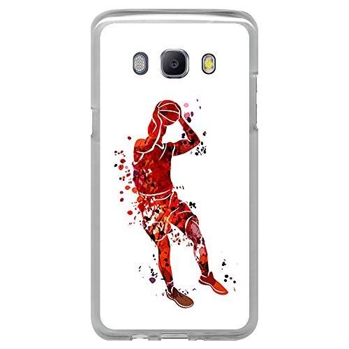 BJJ Funda Transparente para [ Samsung Galaxy J5 2016 ], Carcasa de Silicona Flexible TPU, diseño: Jugador de Baloncesto Watercolor