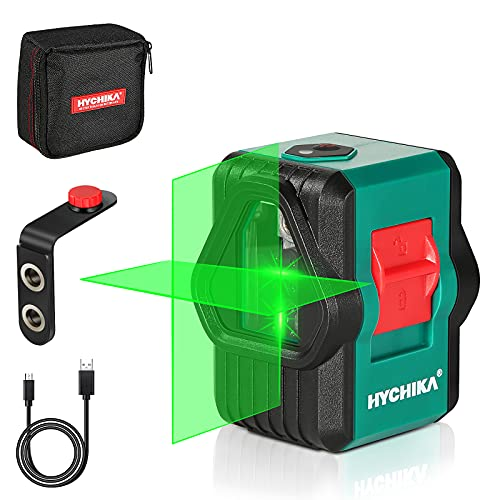 Laser Level, HYCHIKA 150 Ft Green Laser Line Level, Dual Modules (Horizontal/Vertical/Cross Line), Rechargeable Laser Level for Picture Hanging Construction Wall Writing Tile Installation