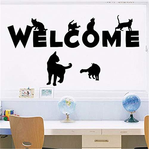 zzlfn3lv Kreative einfarbig Schwarze Katze Wandaufkleber Veranda Flur Glastür abnehmbare Selbstklebende Wandaufkleber