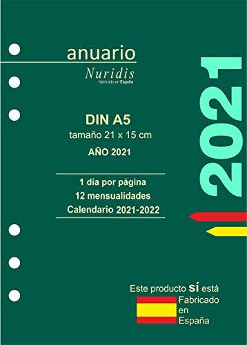 Recambio de agenda español. Año 2021. 1 día por página. DIN A5 (21 x 15 cm)
