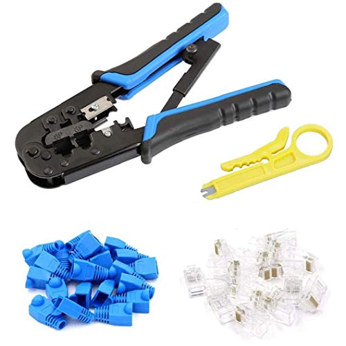 Sanfiyya Herramientas RJ45 trinquete Abrazadera de Cable CAT5 5e Conjunto de Herramientas para prensar 42pcs Azul Industriales