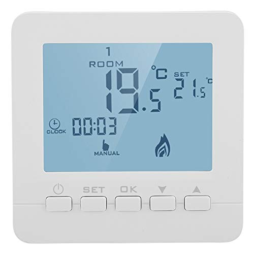 Fdit Thermostat mit LCD-Display, digital, Smart-Temperatur-Controller, 5 A, Heizung mit Heizkessel, digital, komfortabel, hell, programmierbar, Knopfversion