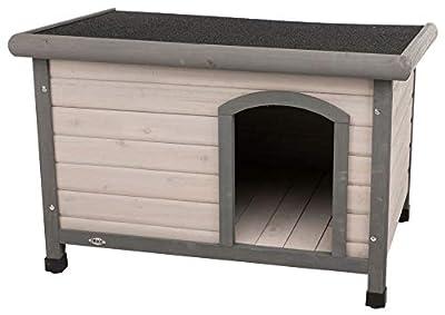 Trixie Natura Classic Dog House, Flat Hinged Roof, Adjustable Legs, Gray Medium-Large