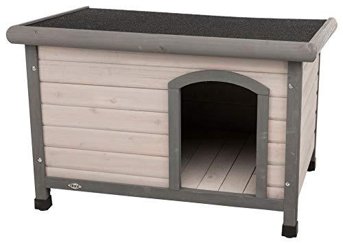 Trixie 39562 natura Hundehütte Classic mit Flachdach, M–L: 104 × 72 × 68 cm, grau