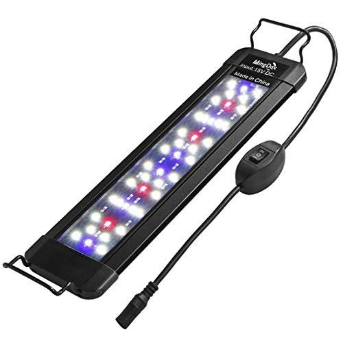 MingDak LED Aquarium Fish Tank Light Fixture,Full Spectrum Lighting for Freshwater Planted Aquariums,Slim & Thin Aluminum Housing,Extendable Brackets Fit 12