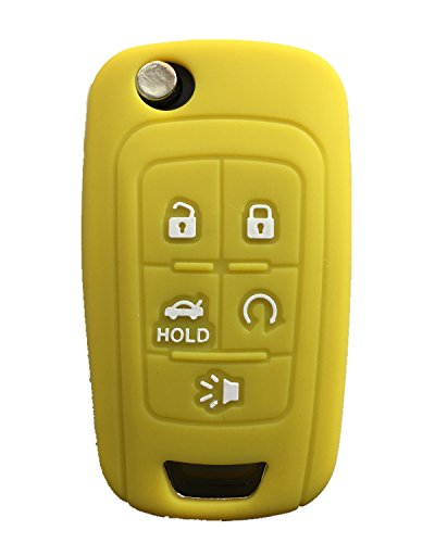 Rpkey Silicone Keyless Entry Remote Control Key Fob Cover Case protector Replacement Fit For Chevrolet Camaro Cruze Limited Equinox Impala Limited Malibu Malibu Limited Sonic(yellow)13500221