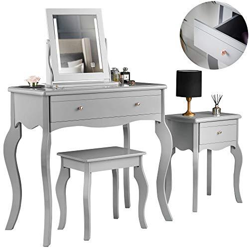 Carme Sorrento - Tocador gris y mesa auxiliar con cajón, asas de oro rosa y espejo con luces LED, juego de cuatro piezas de maquillaje para dormitorio