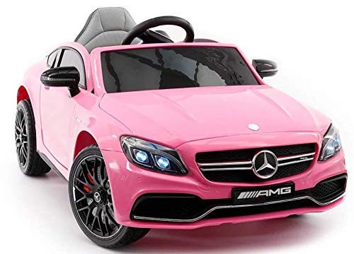2020 Mercedes Benz Kids Ride On Car 12V Licensed Electric Cars Motorized Vehicles for Girls, Remote Control, Leather Seat, Music, Lights - Pink, 2-5 Years Old