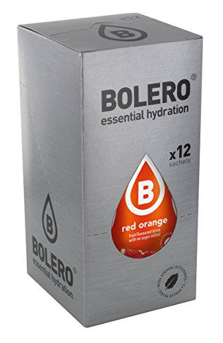 Bolero Bebida Instantánea sin Azúcar, Sabor Naranja Roja - Paquete de 12 x 9 gr - Total: 108 gr