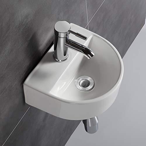 Ovaler Waschtisch, Wandmontage, Keramik-Waschbecken, für kleine Garderoben und Badezimmer