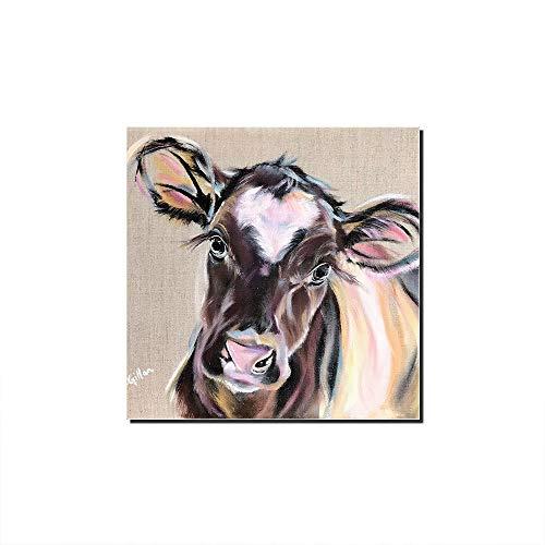 Five-Seller Bunte Kuh Wandkunst Tier Leinwand Ölgemälde Graffiti Bild Pop Drucke Für Wohnkultur (50 x 50 cm)