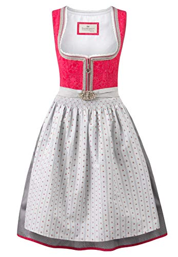 Stockerpoint Damen Dirndl Lisette Kleid für besondere Anlässe, Beere-grau, 34