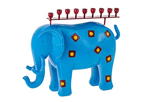 Copa Judaica Blue Elephant Menorah for Chanukah – for Standard Hanukkah Candles and Most Oil Cups – Fun Novelty Design – 8' Tall x 11' Wide
