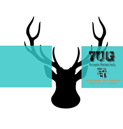 7UG Designer Schablone Hirsch/Deer / (13 x 13 cm) für Mixed Media, Scrapbooking, Artjournal