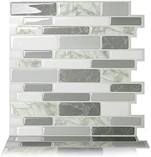 Tic Tac Tiles Peel and Stick Self Adhesive Removable Stick On Kitchen Backsplash Bathroom 3D Wall Tiles in Polito Design (Grey, 10)