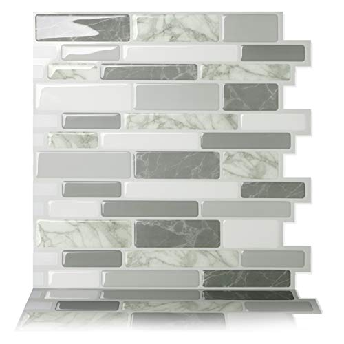 Tic Tac Tiles Peel and Stick Self Adhesive Removable Stick On Kitchen Backsplash Bathroom 3D Wall Sticker Wallpaper Tiles in Polito Design (Grigio, 10)