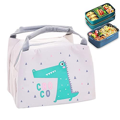 Kühltasche Thermotasche Niedliche Cartoon Tier Lunch Bag Cooler Bag Lunchtasche Thermo Tasche Picknicktasche isoliert faltbar für Lebensmitteltransport für Frauen, Studenten und Kinder (grau)