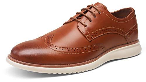 JOUSEN Men's Brown Dress Shoes Formal Oxfords Wingtip Lace Up Dress Shoes(AMY732 Yellow Brown 11)